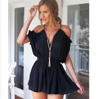 Short Jumpsuit Rompers Deep V Neck Spaghetti Strap Off the Shoulder Overall