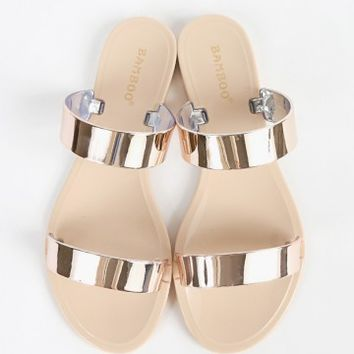 Bamboo Dalia-02 Double Band Jelly Sandals | MakeMeChic.com