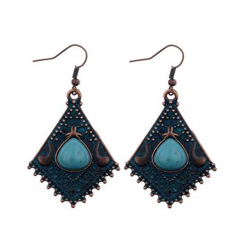 Colorful Glazed Stone Vintage Silver Rhombic Shaped Tribal Earrings Nepal India Jewelry Ethnic Earrings Boho Style HQE278