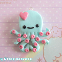 Kawaii Pastel Chibi Octopus Necklace (Mint & Pink)