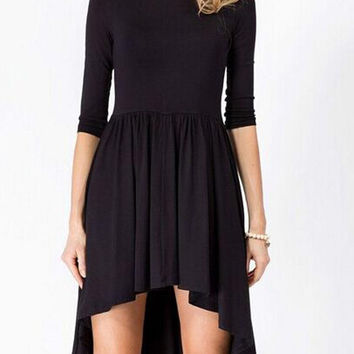 Black Pleated High-Low Dress