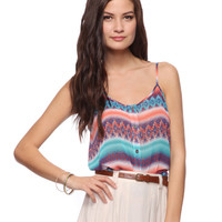 Abstract Pattern Top w/ Tie