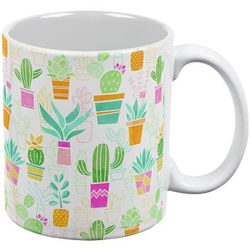 Watercolor Retro Cactus Bold Pastel Pattern Repeat All Over Coffee Mug