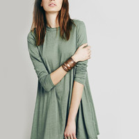 Plain Cut Out Back Long Sleeve Dress