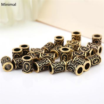 Minimal Antique Gold/Sliver Color Viking Tunes Beads Vintage DIY Charms for Men/Woman's Bracelet Necklace Hair Beard Accessories