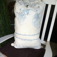 Large sugar sack pillow, blue and white pillow, sugar sacks, shabby chic decor