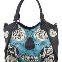 Rockabilly Sacred Skull Metal Goth Blue Flower Skull Handbag