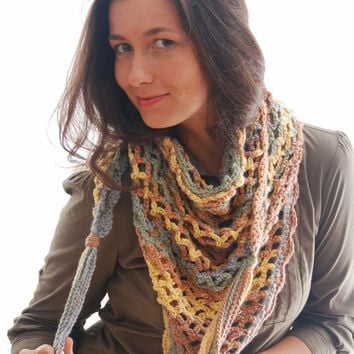 Triangle scarf,  fringed scarf, winter accessories, gift ideas,  hipster scarf, crochet shawl, crochet scarf, fall winter scarf, wool scarf.