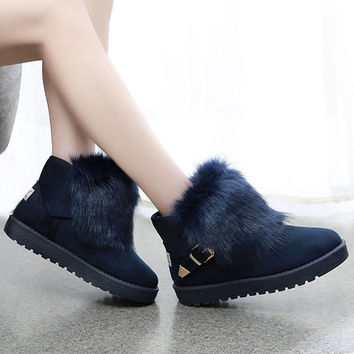 Womens Removable Fur Winter Ankle Boots
