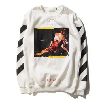 G-Dragon off white Religious Oil Painting Graffiti Oblique Stripe Hooded Sweater Round necked men and women jacket White