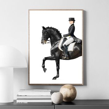 Women Horse Riding Posters and Prints Wall Art Canvas Painting Retro Poster Wall Pictures For Living Room Nordic Decoration Home