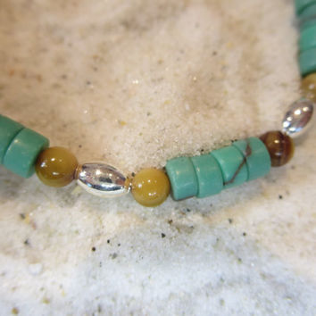 Southwest Inspired Turquoise Tigers Eye Glass & Silver Beads Ankle Bracelet Beach Anklet Summertime Jewelry Sun tan Natural Bohemian Chic