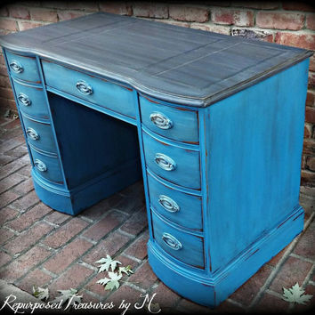 Vintage desk, Beachy desk, blue desk,  distressed desk, rustic desk, desk, shabby chic desk,  chippy desk, painted desk