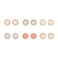 Iridescent Opal and Crystal Button Stud Earrings