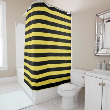 Thick Bee stripes pattern, black and yellow lines Shower Curtain