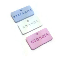 Personalized Name Tag, Baptism Favors, Custom Tag, Clay Tag, Christening Decorations, Party Supplies, Pack of 10 - 25 - 50
