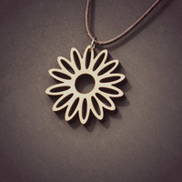 Daisy Flower Laser Cut Wooden Necklace Pendant Statement Jewelry