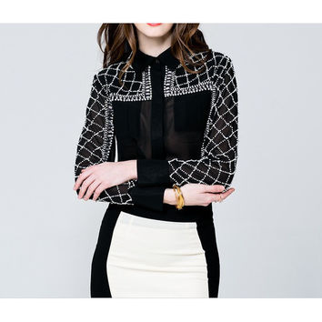 Women Chiffon Clothings of Beads Blouses Pearl Jacket Long Sleeved Shirts