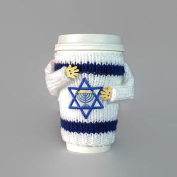 Hanukkah coffee sleeve. Jewish gifts. Travel mug cozy. Chanukah gift. Hanukkah sweater. David star menorah. Coworker gift. Israel flag.