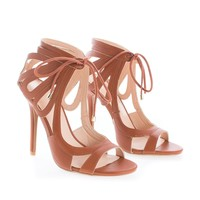Adele211 By Wild Diva, Open Toe Cut Out Ankle Cuff Lace Tie Up Stiletto Heels