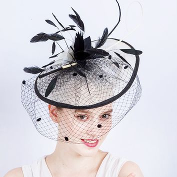Black Feather Veiled Fascinator