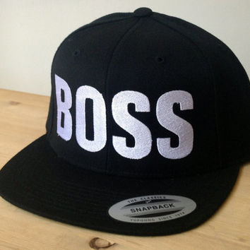 BOSS Snapback Hat with Custom Embroidered Logo.  Made to order quality snap back hats and designs