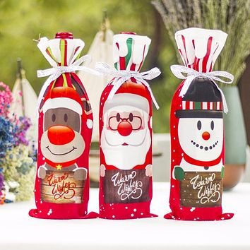 Home Christmas Wine Bottle Stocking Covers