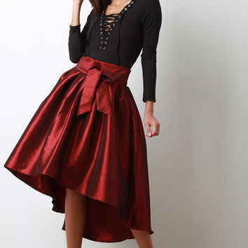 Taffeta High Low Pleated Skirt | UrbanOG