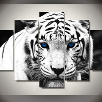 White Tiger 5-Piece Wall Art Canvas