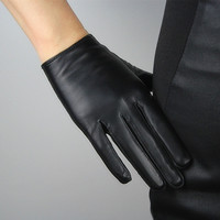 Real Leather Short Gloves Black Genuine Lambskin Sheepskin Women Basic Handmade = 1958117188