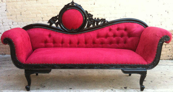 Red Amp Black French Chaise Lounge Sofa From