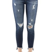 KAN CAN Women's High Rise Destroyed Cropped Skinny Jeans KC6183