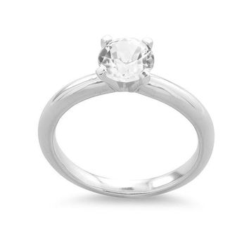 Sterling Silver Genuine White Topaz Round Solitaire Ring