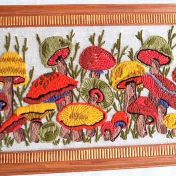 Mushroom embroidery/ vintage crewel embroidery/ framed mushroom wall hanging/ 70s style wall art/ hippie decor