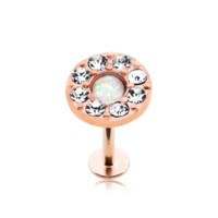 Rose Gold Opal Elegance Multi-Gem Top Steel Labret 16ga Monroe Tragus Cartilage Helix Body Jewelry