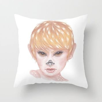 Deer Girl Throw Pillow by drawingsbylam