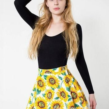 Yellow Sunflower Print High Waist Mini Skater Skirt
