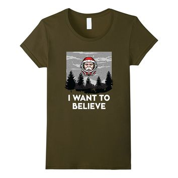 I Want To Believe Alien Santa Claus UFO Christmas T-Shirt