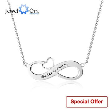Infinity Love Jewelry With Heart Personalized Name Necklace 925 Sterling Silver Necklaces & Pendants (JewelOra NE102395)