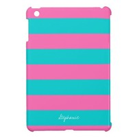 Turquoise & Hot Pink Stripe Pattern iPad Mini Case from Zazzle.com