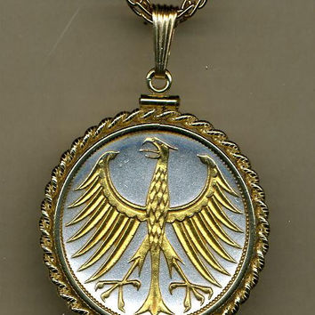 Gorgeous 2-Toned Gold on Silver German  5 mark Eagle,  Coin Necklaces