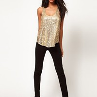ASOS Sequin Vest With Chiffon Back at asos.com