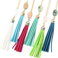 Natural Stone and Tassel - Long Necklace