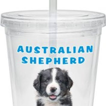 Culver Keith Kimberlin Insulated Plastic Tumbler with Twist Lid and Straw, 16-Ounce, Australian Shepherd