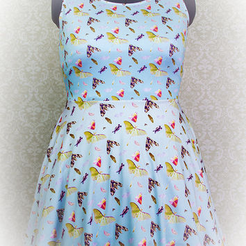 Moth Party Printed Skater Dress Luna Moth, Rosy Maple, Pandorus Sphinx Fairy Kei Pastel Goth Kawaii