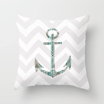 Tribal Anchor and Chevron  Throw Pillow by Sunkissed Laughter