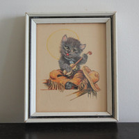 Donald Art Co. cat playing fiddle framed lithograph, cat decor, kids room