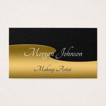 Black and Gold Wavy Background Business Card