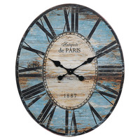 """One Kings Lane - Cottage Charm - 29"""" Oval Paris Wall Clock, Turquoise"""