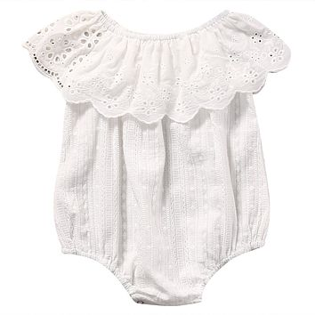Summer 2017 Newborn Toddler Baby Girl White Lace Romper Jumpsuit Infant Clothes Outfit Sunsuit